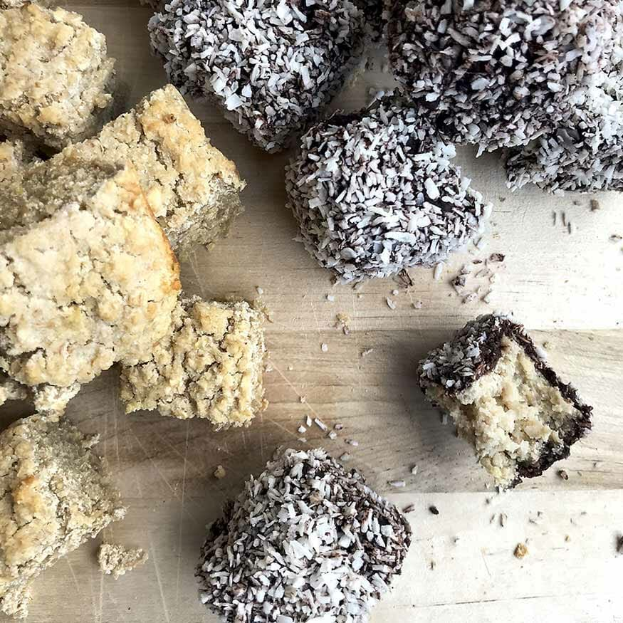 Coconut Chocolate Cubes - Lamingtons | Food photography and vegan baking recipe by Jennifer | Miss Walter's | www.misswalters.com