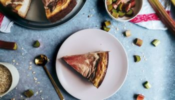 My quintessential spring vegetable is rhubarb. The light sourness of rhubarb pairs wonderful with a sweet cheesecake cake. My vegan cheesecake with rhubarb swirls is a true seasonal showstopper. A healthy take on the traditional cheesecake made with silken tofu and birch sugar.