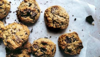 These delicious chunky chocolate chip cookies are vegan and gluten-free and only sweetened with birch sugar. Perfect to dunk into a glass of hot plant-based milk or simply eat them hot off the tray.