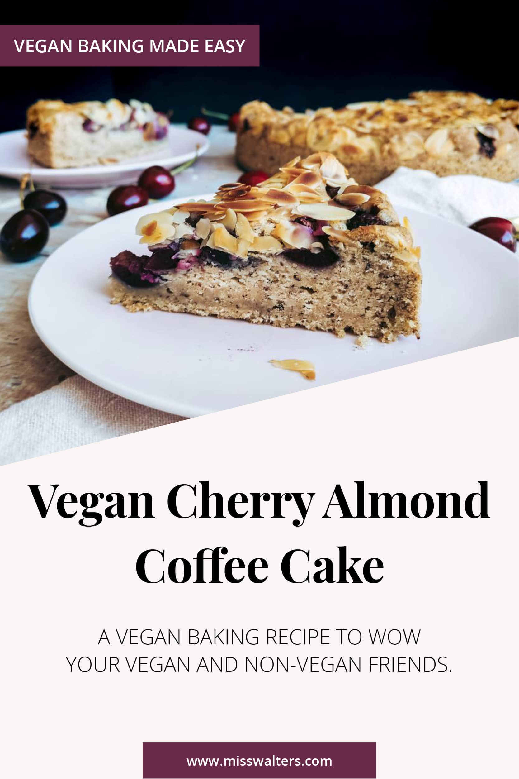 The perfectly moist and delicious vegan coffee cake, flavoured with ground almonds and topped with almond flakes and lots of big, juicy sweet cherries. This Cherry Almond Coffee Cake is vegan, made with spelt flour and sweetened with birch sugar.